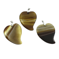 Lace Agate Pendants, with iron bail, Heart, silver color plated, 40x54x5mm, Hole:Approx 5x6mm, 10PCs/Bag, Sold By Bag