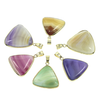 Lace Agate Pendants, with Iron, Triangle, gold color plated, mixed colors, 25x29x5mm-30x34x7mm, Hole:Approx 5x6mm, 10PCs/Bag, Sold By Bag