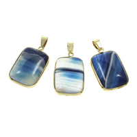 Lace Agate Pendant, with Iron, Rectangle, gold color plated, blue, 18x30x6mm, Hole:Approx 5x6mm, 10PCs/Bag, Sold By Bag