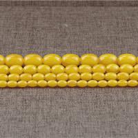 Koraliki z żywicy imitujące bursztyn, żywica, Owal, imitacja wosku pszczelego & różnej wielkości do wyboru, otwór:około 1.5mm, długość:około 15.5 cal, sprzedane przez wiele
