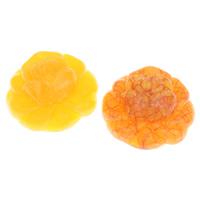 Koraliki z żywicy imitujące bursztyn, żywica, Kwiat, imitacja wosku pszczelego, dostępnych więcej kolorów, 39x37x15mm, otwór:około 1mm, około 48komputery/torba, sprzedane przez torba