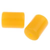 Koraliki z żywicy imitujące bursztyn, żywica, Kolumna, imitacja wosku pszczelego, żółty, 14.5x10mm, otwór:około 2mm, około 380komputery/torba, sprzedane przez torba