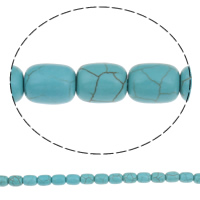 Turquoise Beads, Column, green, 8x10mm, Hole:Approx 1mm, Approx 41PCs/Strand, Sold Per Approx 15 Inch Strand