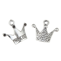 Zinc Alloy Pendant Rhinestone Setting Crown word princess antique silver color plated lead   cadmium free 19x17x3mm Hole:Approx 1mm Inner Diameter:Approx 1mm 100G/Bag
