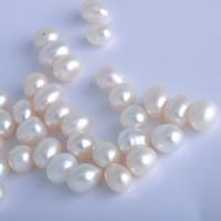 Koraliki z pereł hodowlanych słodkowodnych bez otworu, Perła naturalna słodkowodna, Ryż, Naturalne, biały, 9-9.5mm, 10komputery/torba, sprzedane przez torba