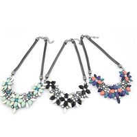 Fashion Statement Necklace Zinc Alloy with Resin with 2Inch extender chain Flower plumbum black color plated snake chain   faceted   with rhinestone nickel lead   cadmium free 130x50mm Sold Per Approx 15.74 Inch Strand