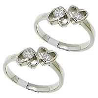 Cubic Zirconia Stainless Steel Finger Ring, Heart, with cubic zirconia, original color, 8mm, US Ring Size:8, Sold By PC