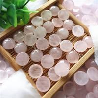 розовый кварц кабошон, Плоская круглая форма, натуральный, плоской задней панелью, 10mm, 30ПК/сумка, продается сумка