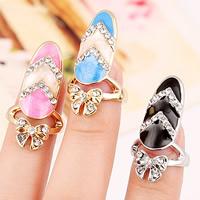 Цинковый сплав ногтей палец кольцо, цинковый сплав, Бантик, Другое покрытие, эмаль & со стразами, Много цветов для выбора, не содержит никель, свинец, 30x15mm, размер:2, продается PC