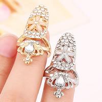 Цинковый сплав ногтей палец кольцо, цинковый сплав, с Стеклянный, Корона, Другое покрытие, эмаль & граненый & со стразами, Много цветов для выбора, не содержит никель, свинец, 35x16mm, размер:2, продается PC