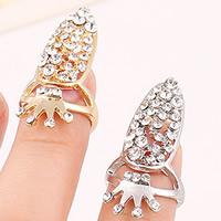 Цинковый сплав ногтей палец кольцо, цинковый сплав, Корона, Другое покрытие, со стразами, Много цветов для выбора, не содержит никель, свинец, 31x15mm, размер:2, продается PC
