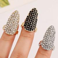 Цинковый сплав ногтей палец кольцо, цинковый сплав, Другое покрытие, со стразами, Много цветов для выбора, не содержит никель, свинец, 26x15mm, размер:2, продается PC