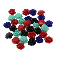 Koraliki z żywicy, żywica, Kwiat, mieszane kolory, 11x12x7mm, otwór:około 1mm, 100komputery/torba, sprzedane przez torba