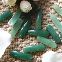 Green Aventurine Connector, Rectangle, natural, 1/1 loop, 10x35mm, Hole:Approx 2mm, 10PCs/Bag, Sold By Bag