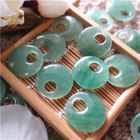 Green Aventurine Pendant, Flat Round, natural, 20mm, Hole:Approx 5mm, 10PCs/Bag, Sold By Bag