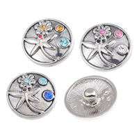 Zinc Alloy Jewelry Chunk Button, Flat Round, platinum color plated, with rhinestone & blacken, mixed colors, lead & cadmium free, 20x20mm, 3PCs/Bag, Sold By Bag