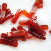Red Agate Connector, Rectangle, natural, 1/1 loop, 10x35mm, Hole:Approx 2mm, 10PCs/Bag, Sold By Bag