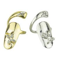 Цинковый сплав ногтей палец кольцо, цинковый сплав, бабочка, Другое покрытие, со стразами, Много цветов для выбора, не содержит никель, свинец, 32x12mm, размер:3, продается PC