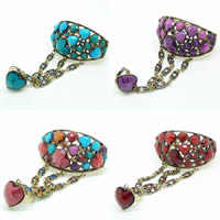 Zinc Alloy Bracelet Ring, with Resin, Heart, antique bronze color plated, faceted & with rhinestone, more colors for choice, nickel, lead & cadmium free, 50mm, Inner Diameter:Approx 60mm, US Ring Size:7-9, Sold Per Approx 7.5 Inch Strand