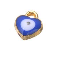 Evil Eye Pendants, Zinc Alloy, Heart, real gold plated, evil eye pattern & enamel, nickel, lead & cadmium free, 7x8mm, Hole:Approx 1.2mm, 500PCs/Lot, Sold By Lot