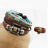 Cowhide Jewelry Set finger ring   bracelet with PU   Wood   Copper Coated Plastic   Zinc Alloy Skull plated adjustable nickel lead   cadmium free 15.50x10.50mm US Ring Size:11 Length:Approx 7.4 Inch 20Sets/Lot