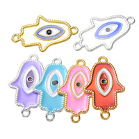 Hamsa Zinc Alloy Connector, Evil Eye Hamsa, plated, Islamic jewelry & enamel & 1/1 loop, more colors for choice, nickel, lead & cadmium free, 20x32mm, Hole:Approx 2mm, 500PCs/Lot, Sold By Lot