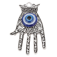Evil Eye Pendants, Zinc Alloy, with Resin, Hand, antique silver color plated, evil eye pattern & colorful powder, lead & cadmium free, 34x58x8mm, Hole:Approx 2.5mm, Sold By PC