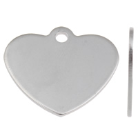Stainless Steel Tag Charm, Heart, laser pattern, original color, 24x21x1mm, Hole:Approx 1.5mm, 50PCs/Bag, Sold By Bag