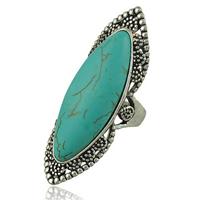 Кольца на весь палец, цинковый сплав, с Синтетическая бирюза, Лошадиный глаз, плакированный цветом под старое серебро, разный размер для выбора, не содержит никель, свинец, 50x16mm, 20ПК/Лот, продается Лот