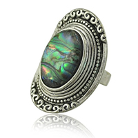 кольцо из ракушки, цинковый сплав, с Раковина морское ушко, плакированный цветом под старое серебро, природный & регулируемый, не содержит никель, свинец, 36mm, размер:8, 20ПК/Лот, продается Лот