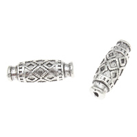Zinc Alloy Jewelry Beads Oval antique silver color plated lead   cadmium free 17x6mm Hole:Approx 1mm Approx 30PCs/Bag