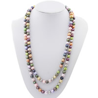Natural Freshwater Pearl Long Necklace, Potato, multi-colored, 8mm, Sold Per Approx 47 Inch Strand