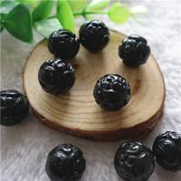 Musta Obsidian Helmet, Pyöreä, veistetty & erikokoisia valinnalle, Reikä:N. 1mm, 5PC/laukku, Myymät laukku