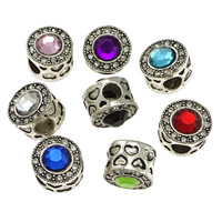 Zinc Alloy European Beads, silver color plated, with heart pattern & without troll & with rhinestone & blacken, more colors for choice, nickel, lead & cadmium free, 11x12mm, Hole:Approx 5mm, 100PCs/Lot, Sold By Lot