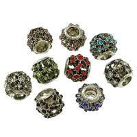 Zinc Alloy European Beads, Drum, silver color plated, without troll & with rhinestone & blacken, more colors for choice, nickel, lead & cadmium free, 11x10mm, Hole:Approx 4.5mm, 100PCs/Lot, Sold By Lot