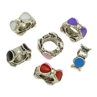 Zinc Alloy European Beads, Bowknot, silver color plated, without troll & enamel & blacken, more colors for choice, nickel, lead & cadmium free, 4x8.50x9.50mm, Hole:Approx 5mm, 100PCs/Lot, Sold By Lot