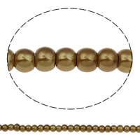 Glass Pearl Beads, Round, different size for choice, brown, Hole:Approx 1mm, Sold By Bag