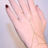 Iron Bracelet Ring, gold color plated, oval chain, nickel, lead & cadmium free, 190mm, Length:Approx 7.5 Inch, 3Strands/Bag, Sold By Bag