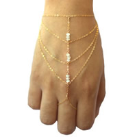 Zinc Alloy Bracelet Ring, Crystal, with iron chain, with 5cm extender chain, gold color plated, oval chain & faceted, nickel, lead & cadmium free, 400mm, Length:Approx 7.5 Inch, 3Strands/Bag, Sold By Bag