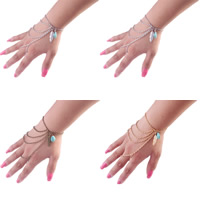 Zinc Alloy Bracelet Ring, with iron chain & Turquoise, with 5cm extender chain, Leaf, plated, oval chain, more colors for choice, nickel, lead & cadmium free, 400mm, Length:Approx 7.5 Inch, 3Strands/Bag, Sold By Bag