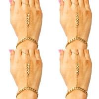 żelazo bransoletka połączona z pierścionkiem, Platerowane w kolorze złota, skręt owalne, bez zawartości niklu, ołowiu i kadmu, 300mm, długość:około 7.5 cal, 3nici/torba, sprzedane przez torba
