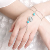 Zinc Alloy Bracelet Ring, with iron chain & Turquoise, antique silver color plated, oval chain, nickel, lead & cadmium free, 160mm, Length:Approx 6 Inch, 3Strands/Bag, Sold By Bag
