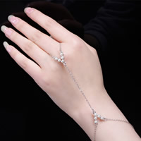 Zinc Alloy Bracelet Ring, with ABS Plastic Pearl & iron chain, with 5cm extender chain, silver color plated, oval chain, nickel, lead & cadmium free, 170mm, Length:Approx 6.5 Inch, 3Strands/Bag, Sold By Bag
