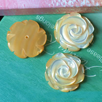 Hair Accessories DIY Findings, Yellow Shell, Flower, natural, half-drilled, 15mm, 10PCs/Lot, Sold By Lot