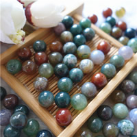 Natural Indian Agate Beads, Round, different size for choice & half-drilled, Hole:Approx 1mm, 50PCs/Bag, Sold By Bag