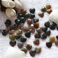 Natural Indian Agate Beads, Heart, half-drilled, 13mm, Hole:Approx 1mm, 30PCs/Bag, Sold By Bag