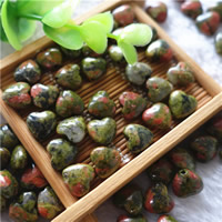 Natural Unakite Beads, Heart, 10mm, Hole:Approx 1mm, 30PCs/Bag, Sold By Bag