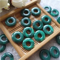 Malachite Pendants, Donut, natural, 15mm, Hole:Approx 5mm, 10PCs/Bag, Sold By Bag
