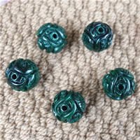 Natural Malachite Beads, Round, carved & different size for choice, 2PCs/Bag, Sold By Bag