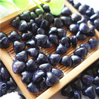 Natural Blue Goldstone Beads, Heart, 8mm, Hole:Approx 1mm, 30PCs/Bag, Sold By Bag
